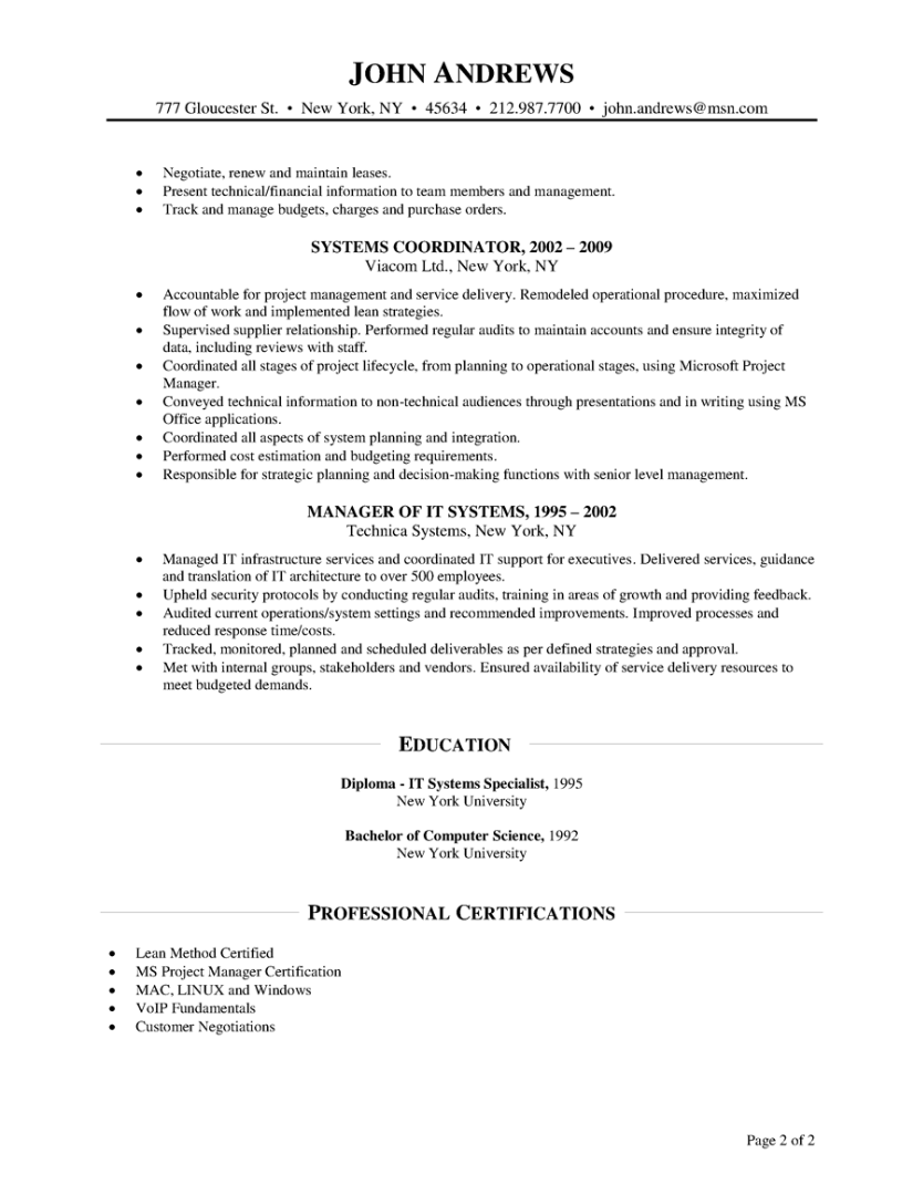 Wireless Project Manager Cover Letter Project Manager Resume