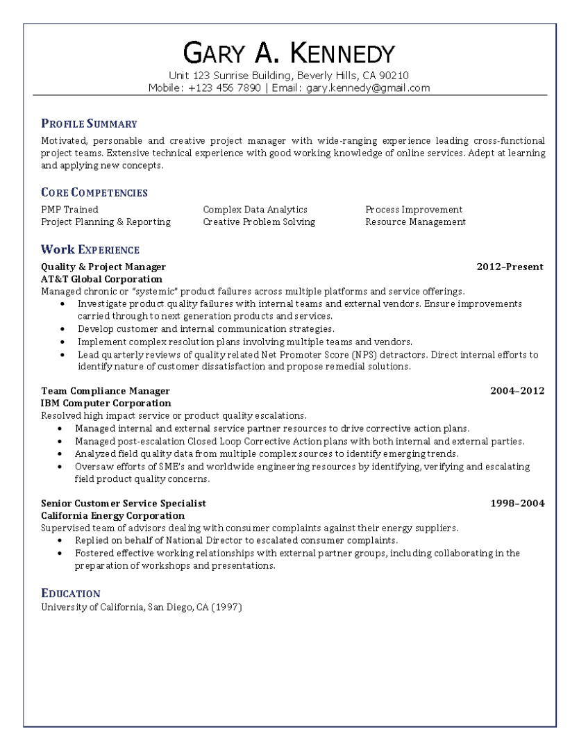 Quality & Project Manager Resume