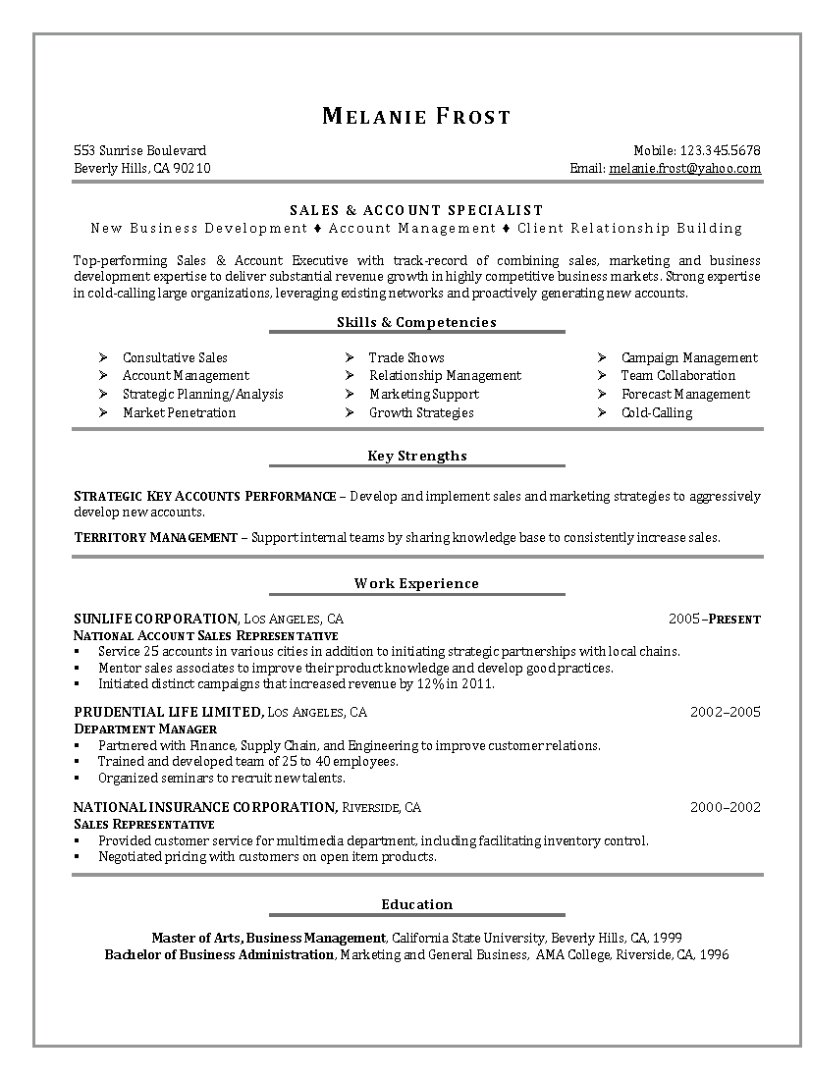 Sales & Account Specialist Resume
