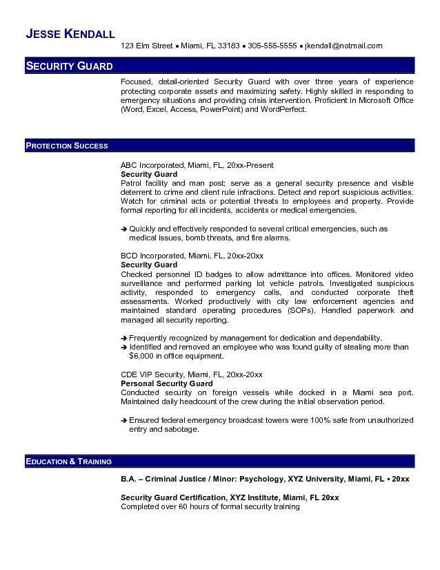 Guard Resume