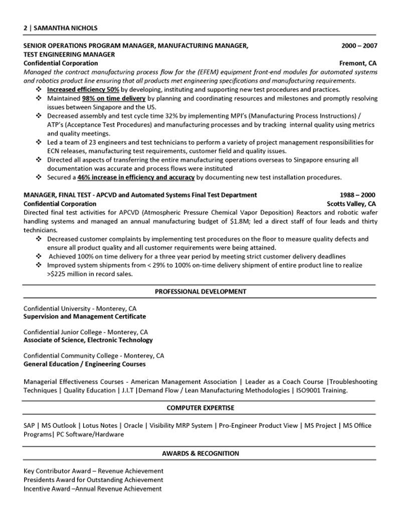lean manufacturing resume examples