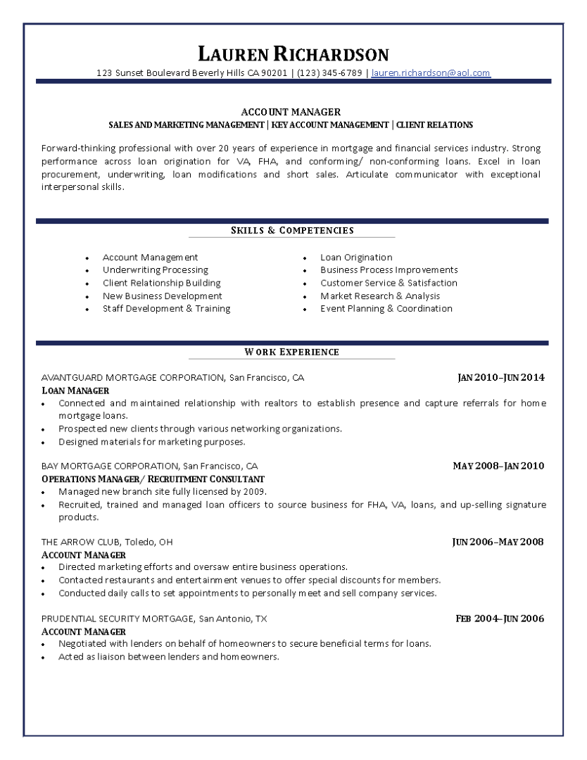 Account Manager Resume