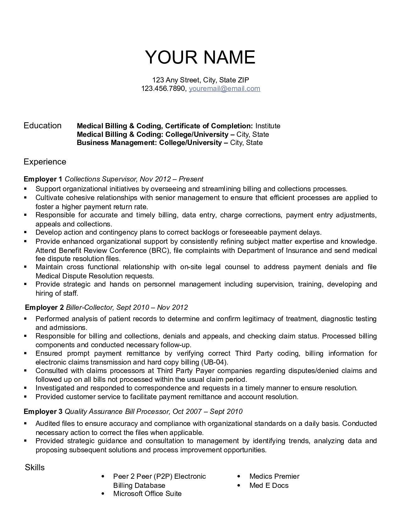 resume examples medical billing