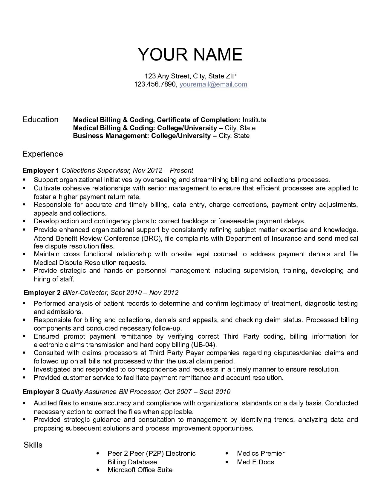 How To Write A Resume For Medical Billing And Coding Medical Billing Resume