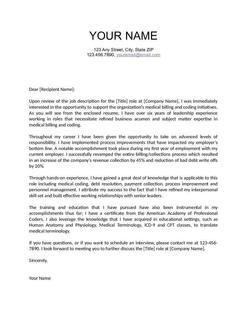 medical biller cover letter