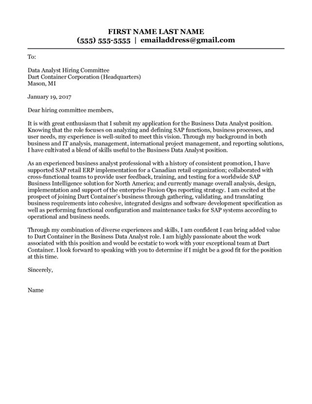 Business Data Analyst Cover Letter