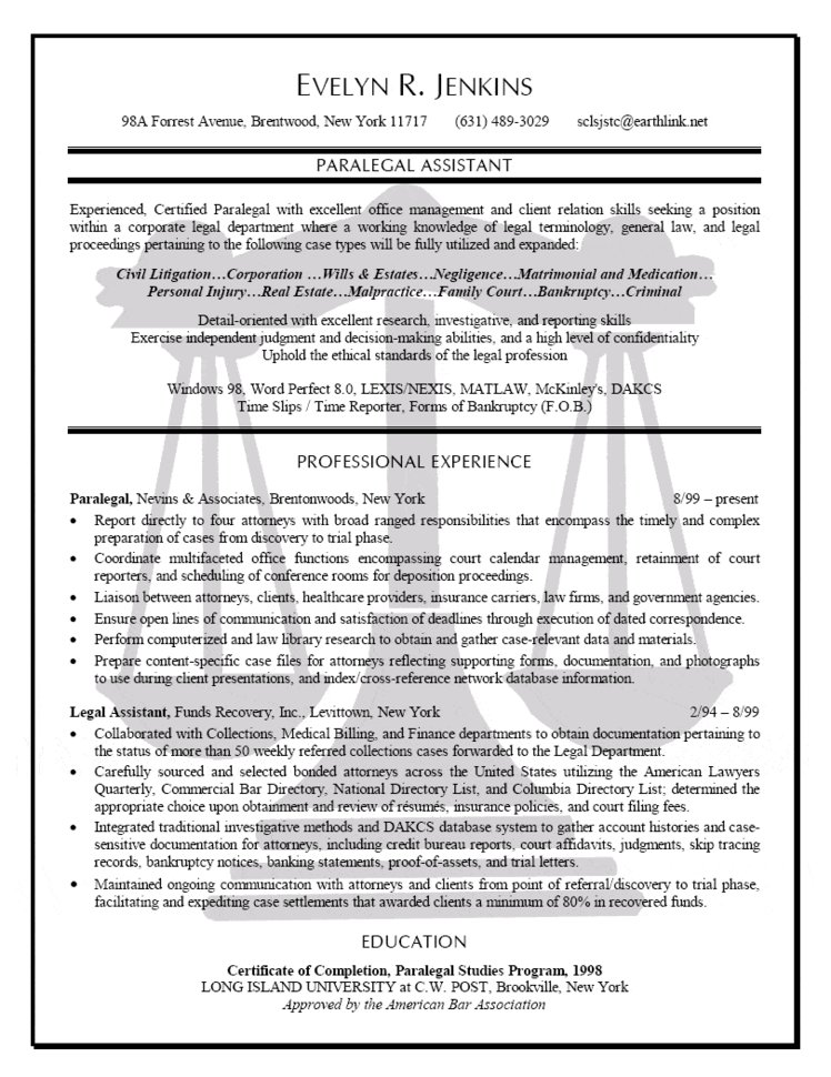 sample resume paralegal assistant
