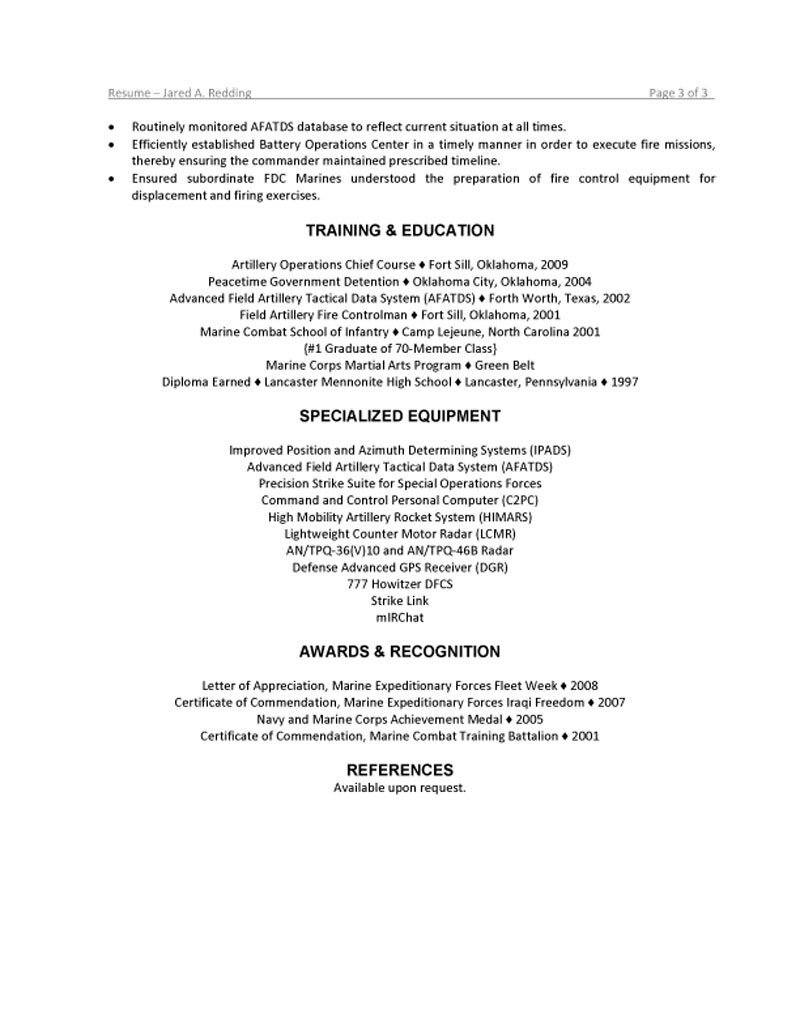 marine resume