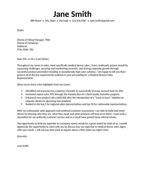 medical cover letters