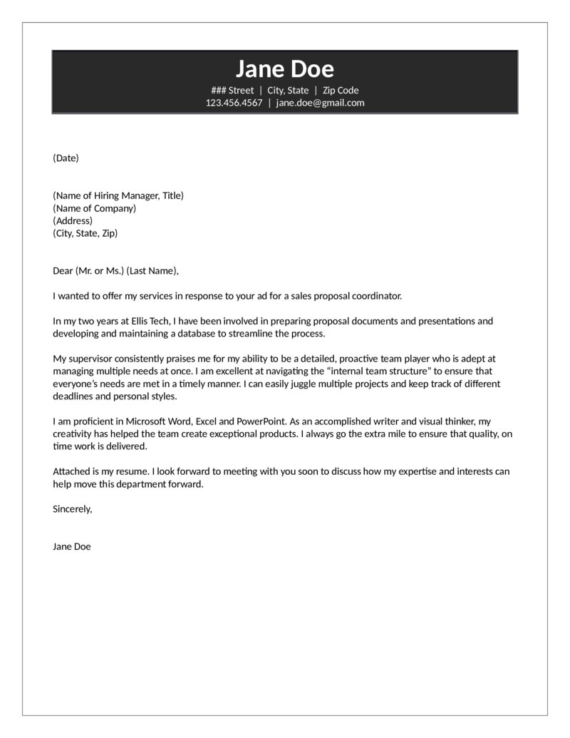 Proposal Coordinator Cover Letter