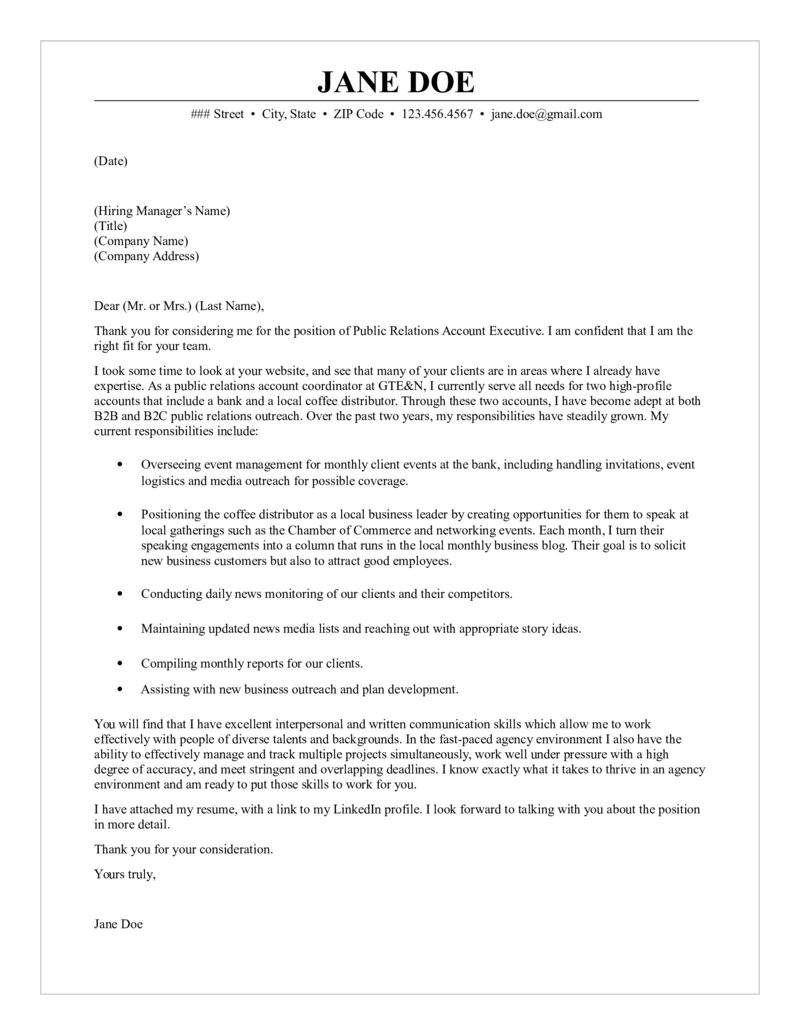 Media Relations Cover Letter Public Relations Account Executive Cover Letter