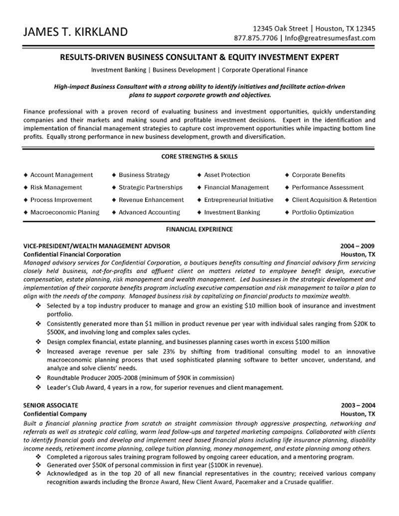 wealth management advisor resume sample
