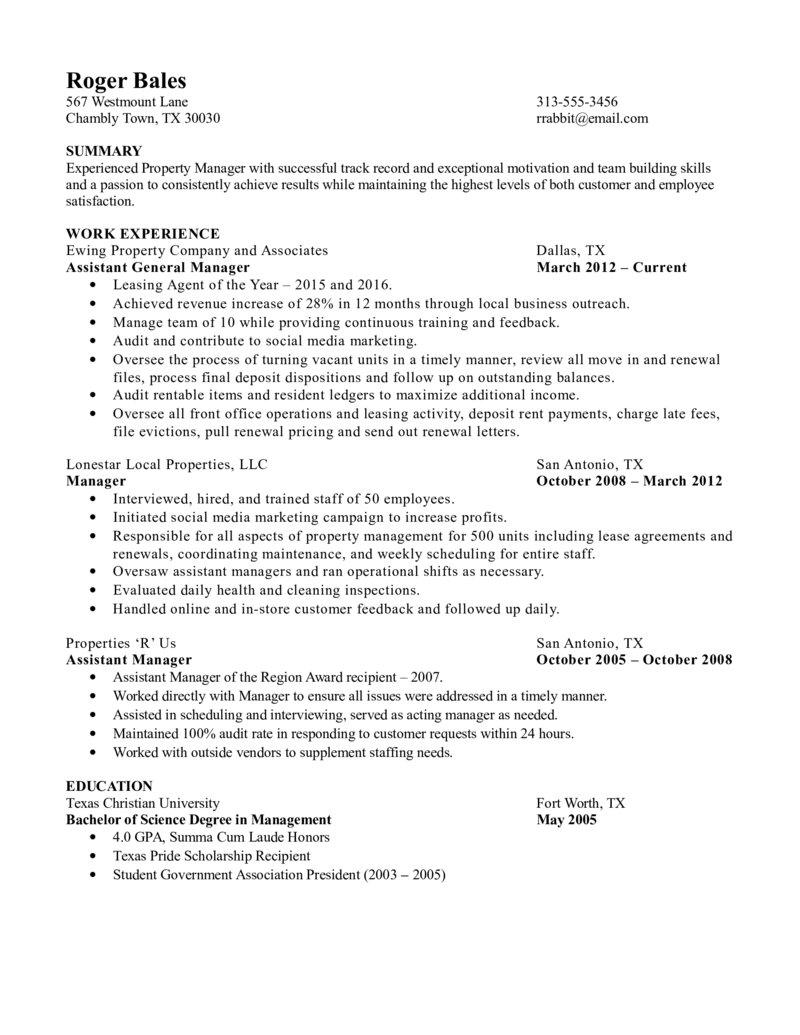 Property Manager Resume Experienced