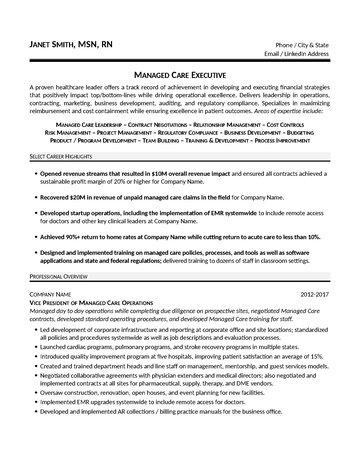 Managed Care Executive Resume