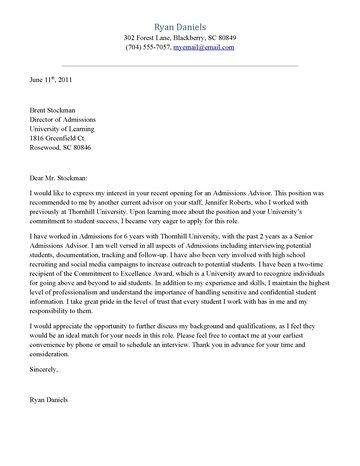 Admissions Advisor Cover Letter