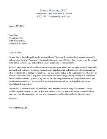 Cover Letter Pharm Tech Resume