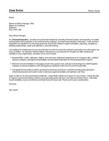Financial Executive Cover Letter