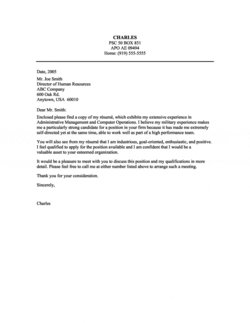 Cover Letter Examples Military Background