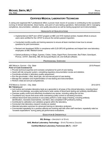 Certified Medical Laboratory Technician Resume
