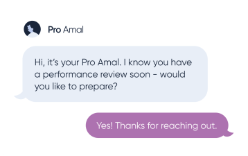 Mock-up of a text from a Pro to an employee.