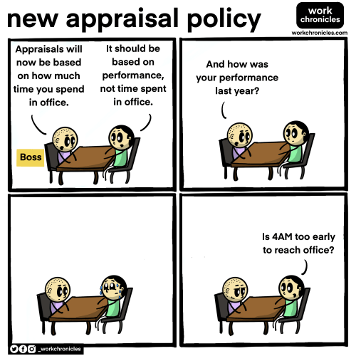 """Comic on New Appraisal Policy. Panel 1 : boss says """"appraisals will now be based on how much time you spend in office. Employee replies """"it should be based on performance"""". Panel 2 : Boss asks """"And how was your performance last year?"""" Panel 3: Employee remembering last year and sweating. Panel 4 : Employee asks """"is 4AM too early to reach office?"""""""