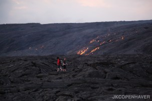 An endless field of lava rock and active lava from Mauna Loa.