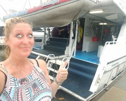 Heading out for a fun day of snorkeling the Great Barrier Reef! I have my seasick patch on and I'm ready to go!