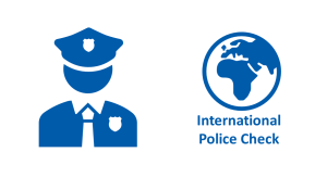 Map of the world with Policeman and text International National Police Check