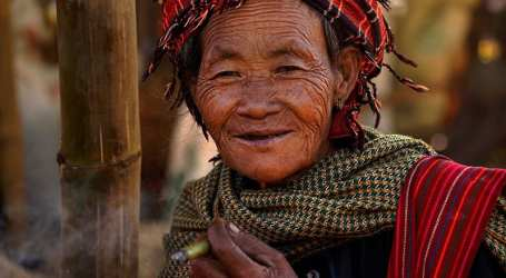 Myanmar Elderly Pa-O Woman Portrait
