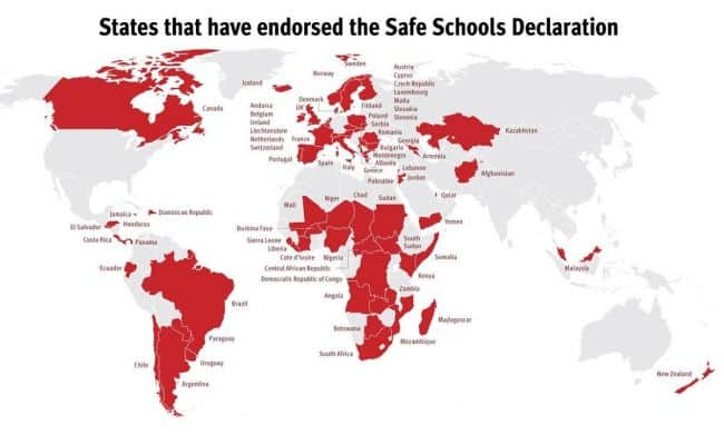 74th state to endorse the Safe Schools Declaration