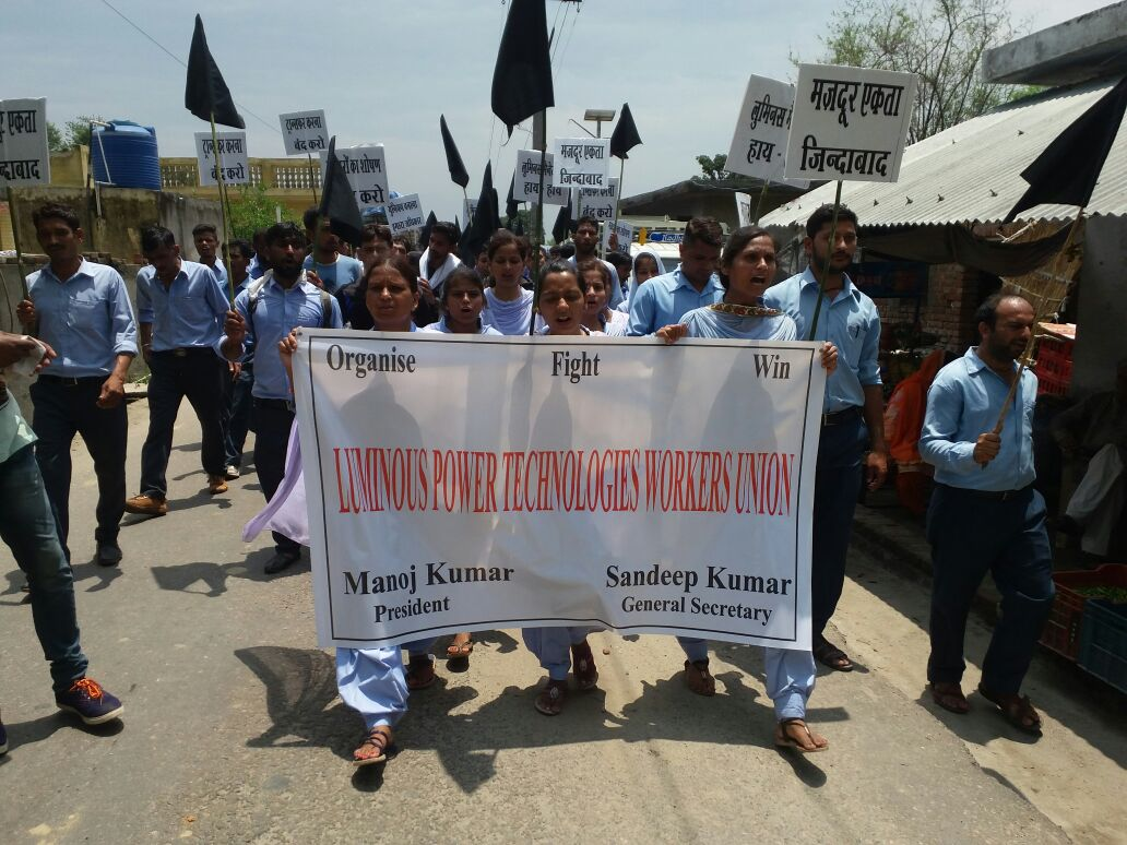 Schneider Electric workers rally for union rights in India