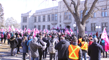 Over a thousand people rally outside U of S Board of Governors meeting to demand a fair deal for CUPE 1975 members