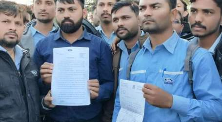 Sanand Ford India workers protest against meager wages