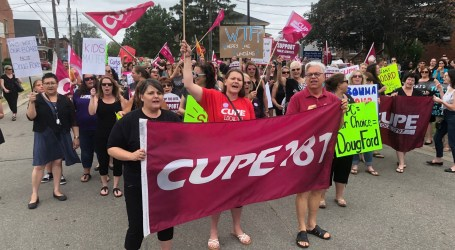 CUPE Ontario members rally against cuts to Brant Family and Children's Services as entire board resigns