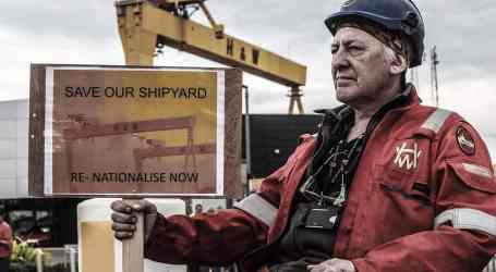 Northern Ireland shipyard workers occupy yard that built the Titanic