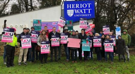 over 40,000 university personnel take strike action for better pensions, pay and conditions.