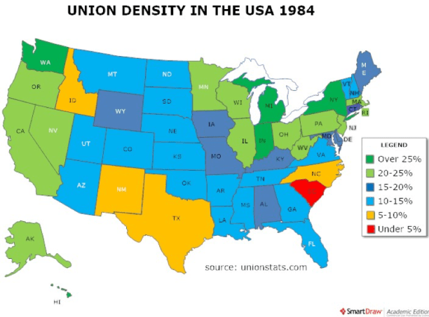 Labor Union States Map.Labor Unions And Worker Co Ops Today And Yesterday The Workers