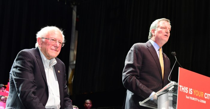 NYC Mayor Bill de Blasio Endorses Bernie Sanders for President
