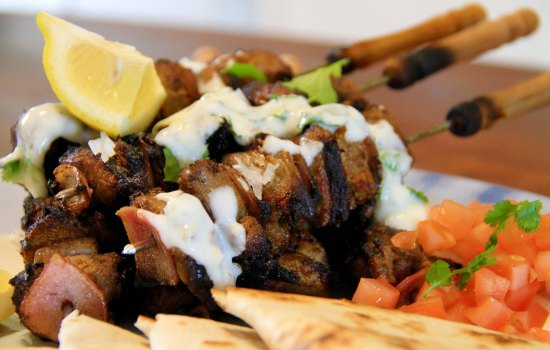 Moroccan lamb kebabs with flatbread