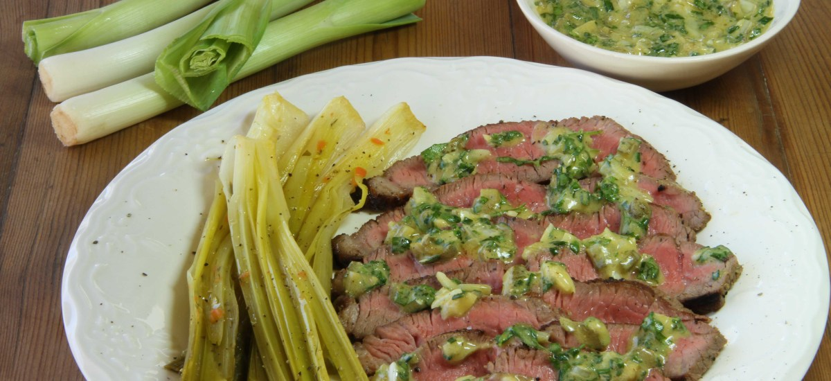 Chargrilled beef with herb dressing and leeks