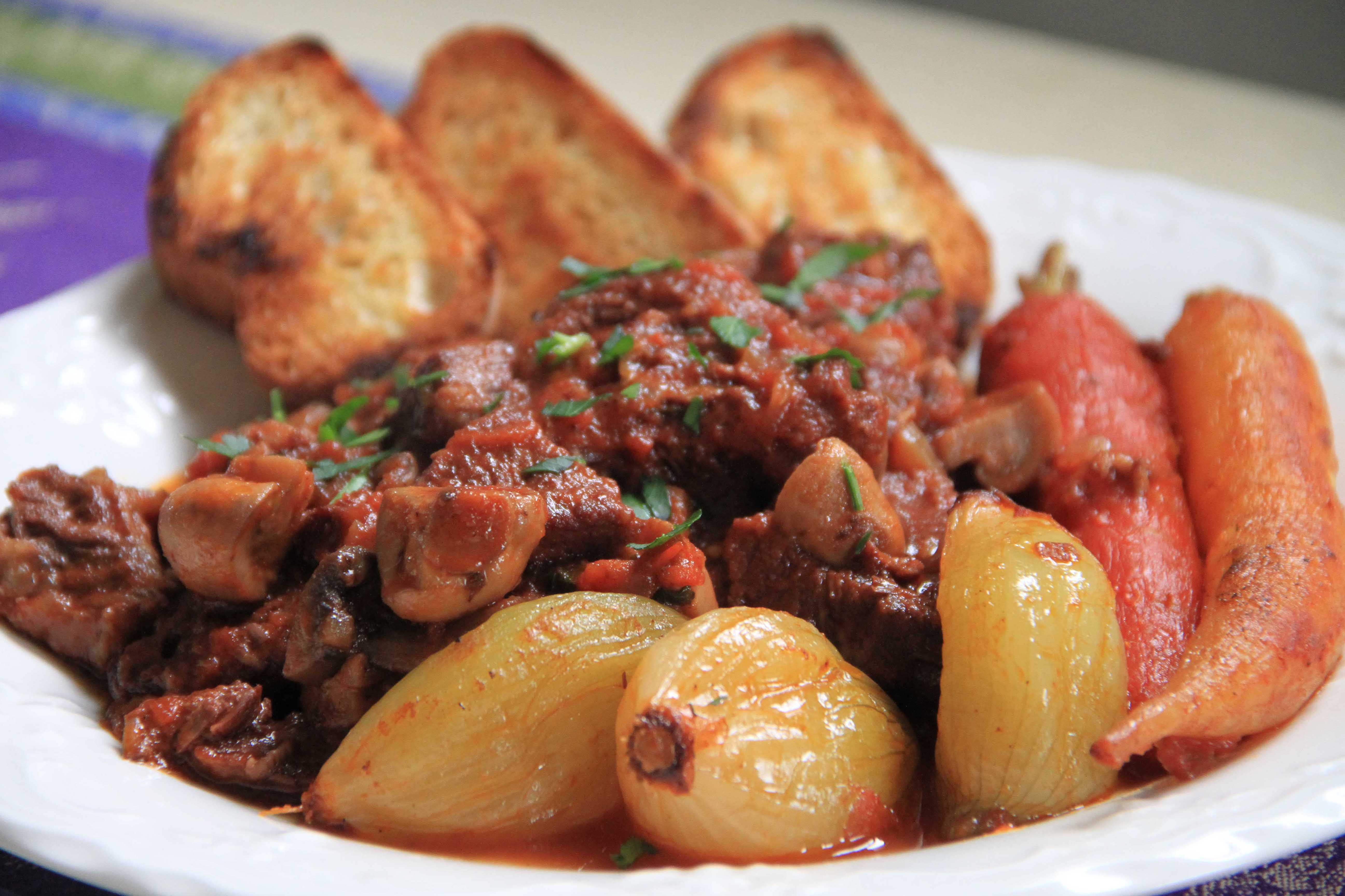 Provencal daube stew with beef and red wine