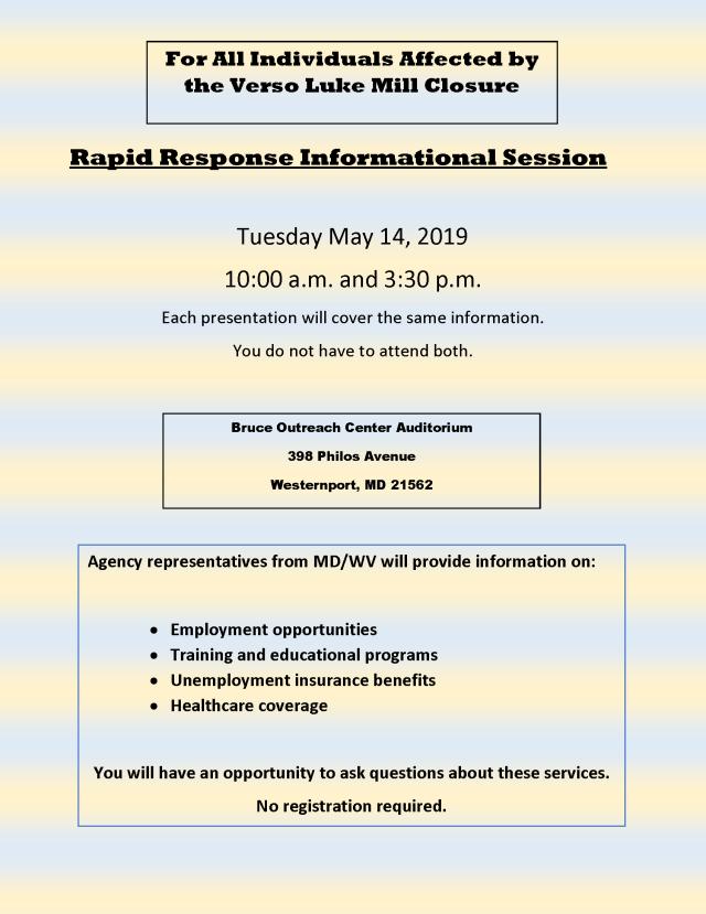 Rapid Response Information Session Flyer