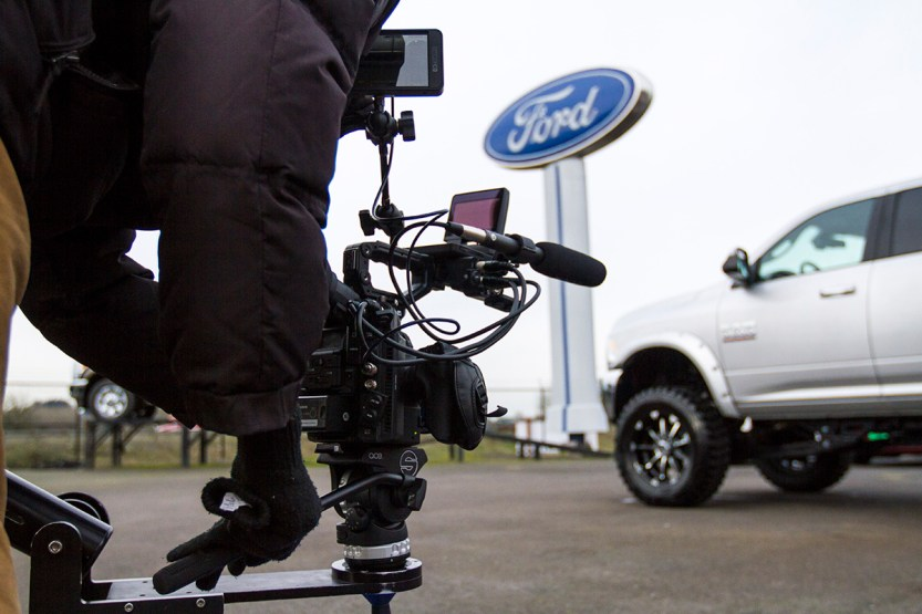 Media272 on-location in Chehalis, WA shooting a TV commercial for I-5 Cars. Dec. 2016
