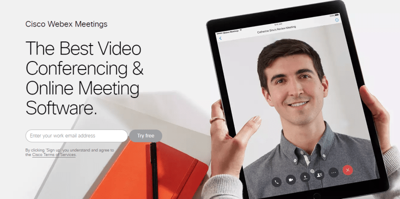 Cisco Webex Meetings offer awesome quality video conferencing for up to 100 attendees. You can try it for free which includes 1GB cloud storage.