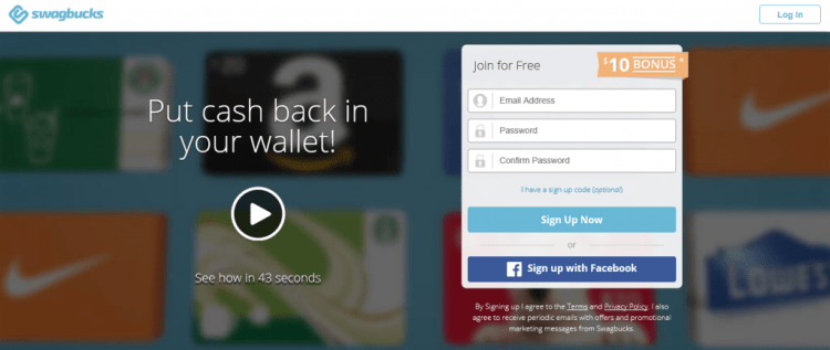 Swagbucks home page