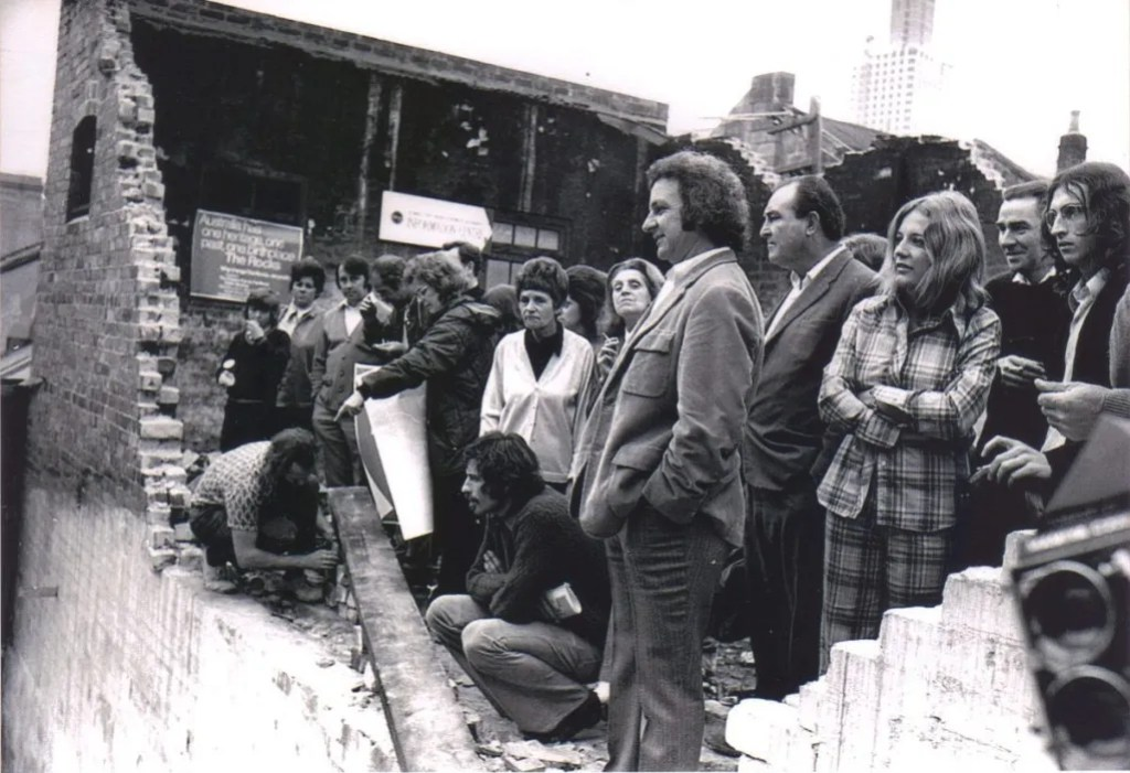 Playfair St, The Rocks 24 October 1973 Jack Mundey, Meredith Burgmann, Nellie Leonard, Peter Wright