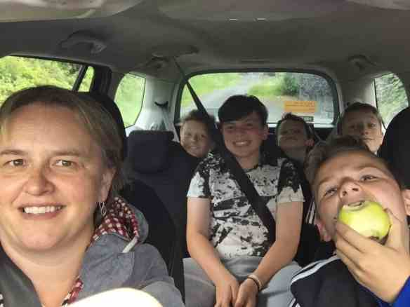 picture of the boys and me in the car
