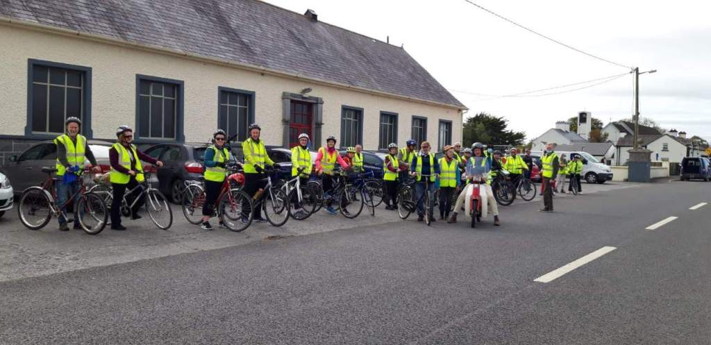Group Cycle Photo Ardrahan Old Mile Stone Bikeride