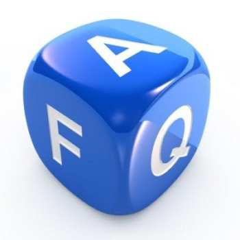 A blue dice with the letters FAQ on each face of the diice