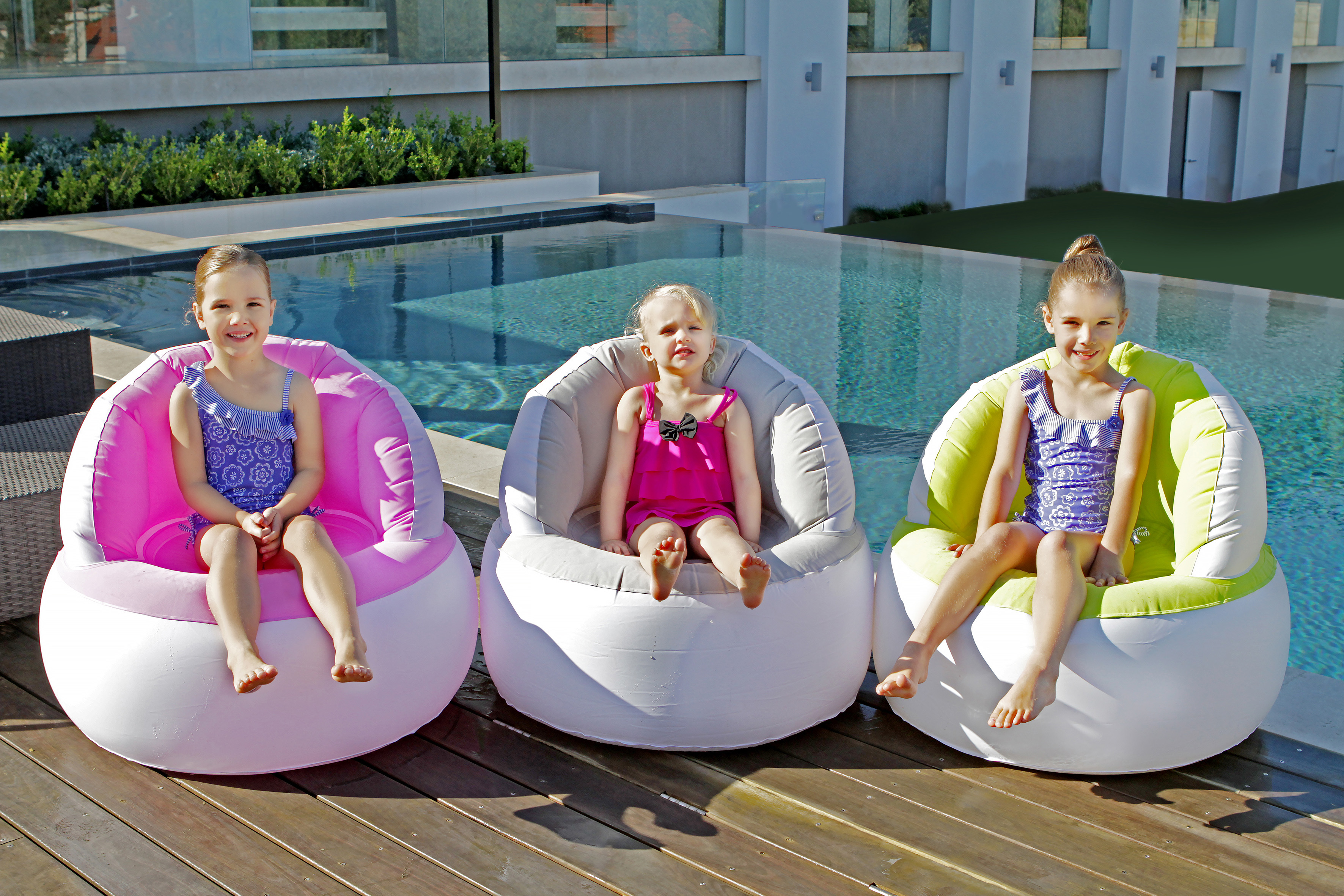 in water pool chairs ikea chair bed inflatable grey flocked swimming lounge